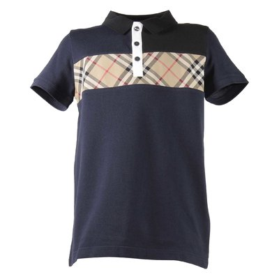 Polo blu navy Jeff in piquet di cotone con inserto Vintage Check